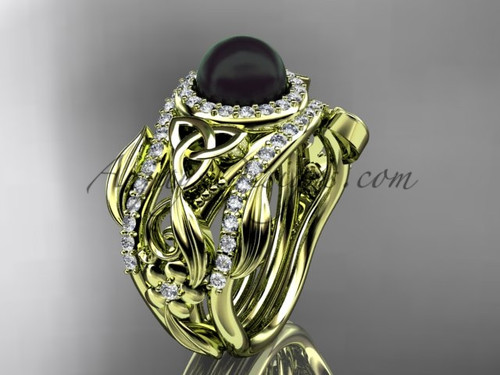 Triquetra Black Pearl Double Band Yellow Gold Wedding Ring CTBP7300S