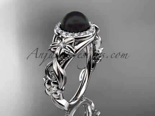 Halo Black Pearl Engagement Ring White Gold Flower Wedding Ring ABP300