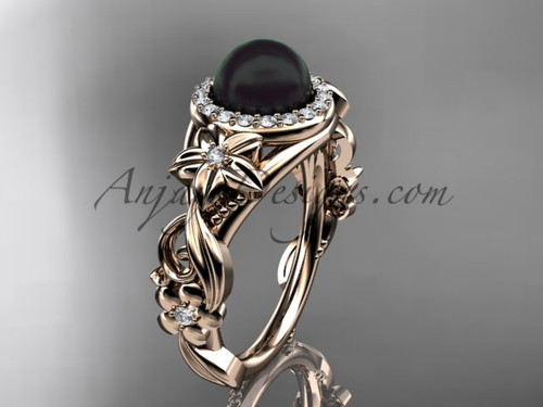 Halo Engagement Ring Black Pearl Rose Gold Ring ABP300
