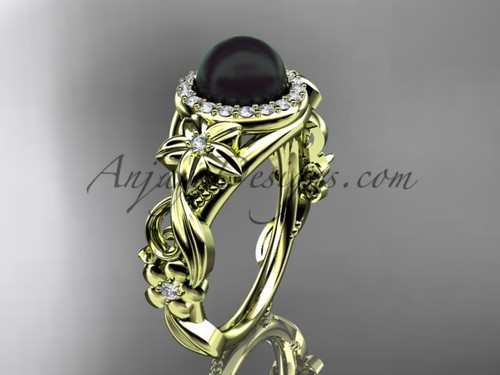 Halo Engagement Ring Black Pearl Yellow Gold Ring ABP300