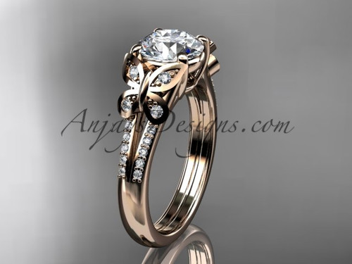 Butterfly Rings Rose Gold Moissanite Engagement Ring ADLR514