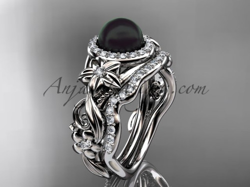 Halo Black Pearl Wedding Ring Sets White Gold Ring ABP300S