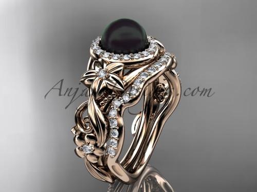 Black Pearl & Halo Diamond  Engagement Rings 14kt Rose Gold Unique Wedding Set ABP300S