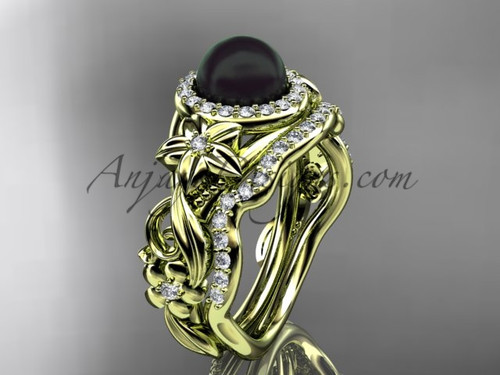 Halo Black Pearl Wedding Ring Sets Yellow Gold Ring ABP300S