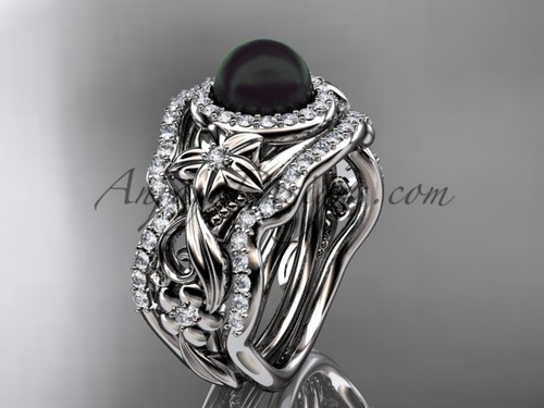 Black Pearl Matching Engagement Rings White Gold ABP300S