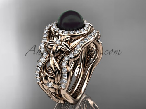 Black Pearl Matching Engagement Rings Rose Gold ABP300S