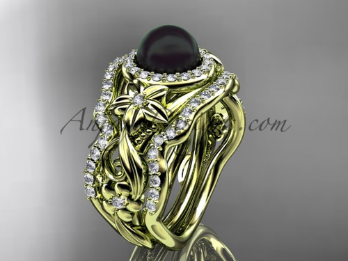 Black Pearl Matching Engagement Rings Yellow Gold ABP300S