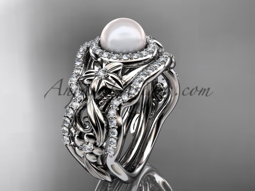 Matching Engagement Rings Halo White Gold Pearl Ring ABP300S