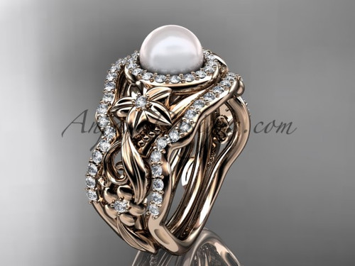 Matching Engagement Rings Halo Rose Gold Pearl Ring ABP300S