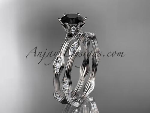 platinum diamond wedding ring, engagement ring, engagement set with a Black Diamond center stone ADLR132S