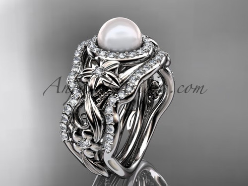 Matching Engagement Rings Halo Platinum Pearl Ring ABP300S