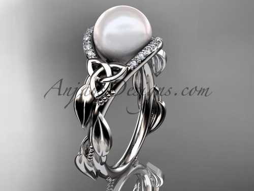 Irish Diamond Engagement Rings White Gold Celtic Trinity Knot Wedding Ring, Leaf Round Pearl Engagement Ring CTP7326