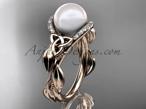 Celtic Engagement Rings Rose Gold Pearl Ring CTP7326