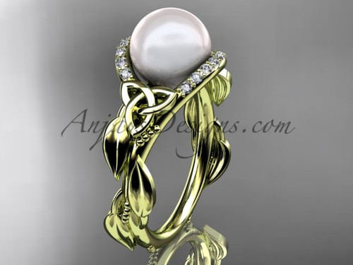 Diamond Engagement Rings Yellow Gold Celtic Trinity Knot Wedding Ring, Leaf Pearl Engagement Ring CTP7326