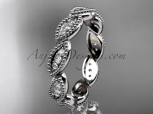 Platinum diamond leaf wedding ring, nature inspired jewelry ADLR241