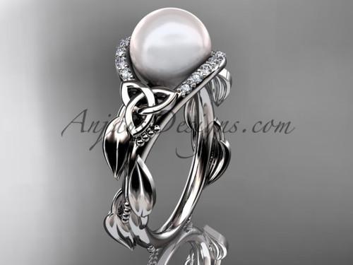 Irish Diamond Engagement Rings Platinum Celtic Trinity Knot Wedding Ring, Leaf Round Pearl Engagement Ring CTP7326