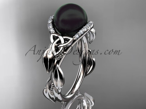 Black Pearl Engagement Rings White Gold Celtic Trinity Knot Wedding Ring, Leaf Pearl Engagement Ring CTBP7326