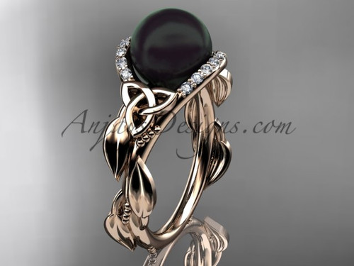 Black Pearl Celtic Engagement Rings Rose Gold Ring CTBP7326
