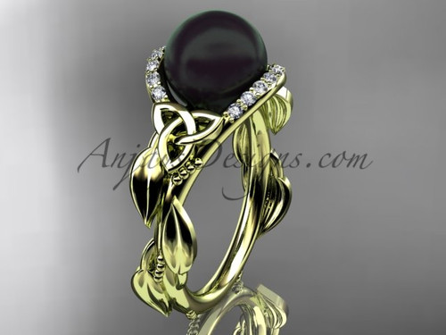Black Pearl Engagement Rings Yellow Gold Ring CTBP7326
