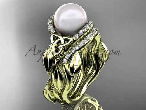 Yellow Gold Celtic Trinity Knot Wedding Set, Leaf Bridal Set CTP7326S