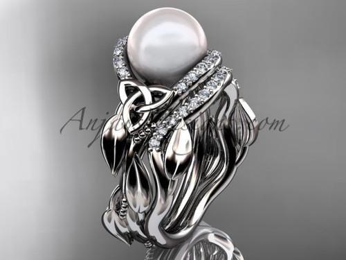 Celtic Wedding Ring Sets Platinum Pearl Ring CTP7326S