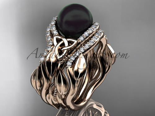 Engagement and Wedding Sets Rose Gold Black Pearl CTBP7326S