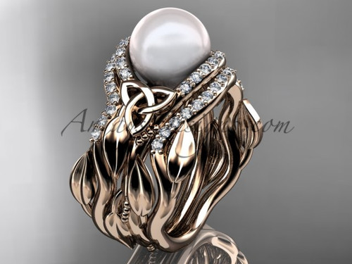 Pearl Engagement and Wedding Sets Rose Gold Ring CTP7326S