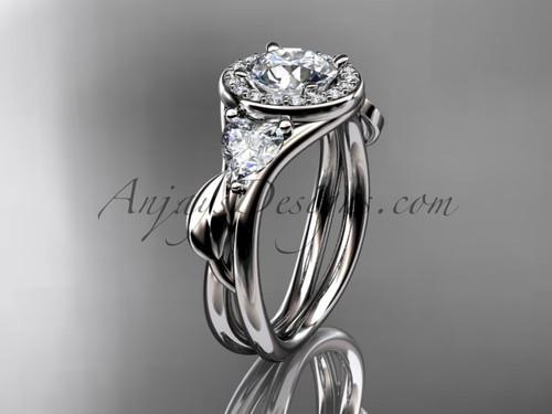 Platinum diamond unique engagement ring, wedding ring ADLR314
