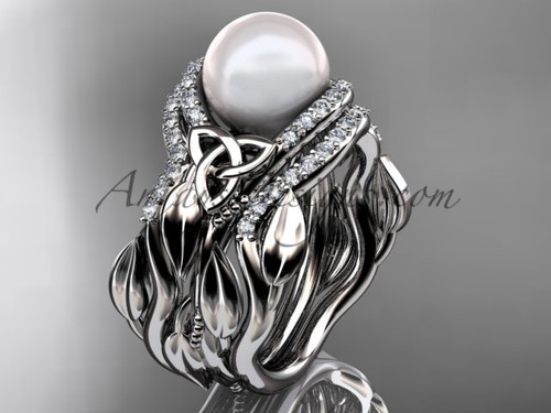 Pearl Engagement and Wedding Sets Platinum Ring CTP7326S