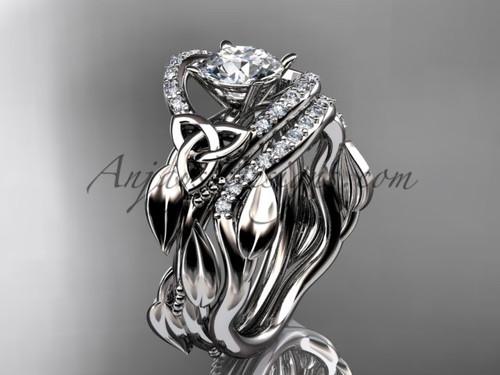 Irish celtic wedding band sets 14kt white gold ring CT7326S