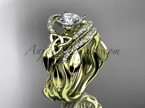 Irish celtic wedding band sets 14kt yellow gold ring CT7326S