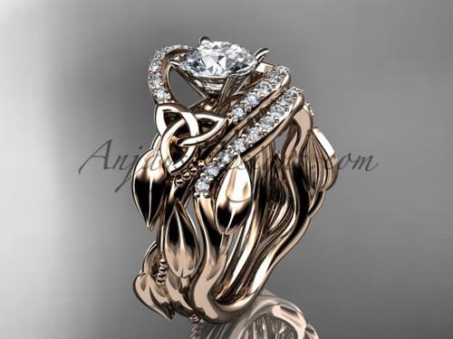 Moissanite Celtic Wedding Ring Sets Rose Gold Ring CT7326S
