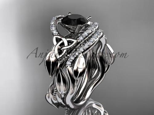 Black Diamond Celtic Wedding Ring Sets White Gold CT7326S