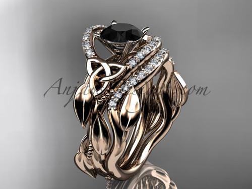 Black Diamond Celtic Wedding Ring Sets Rose Gold CT7326S