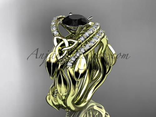 Black Diamond Celtic Wedding Ring Sets Yellow Gold CT7326S