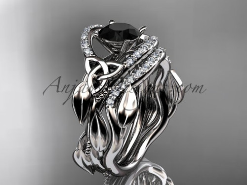 Black Diamond Celtic Wedding Ring Sets Platinum Ring CT7326S