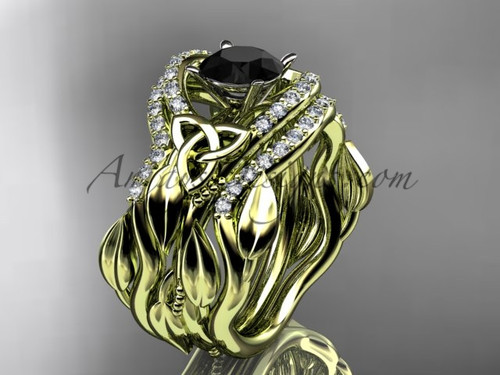 Irish Celtic Yellow Gold Double Band Engagement Ring Black Diamond CT7326S