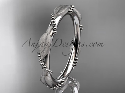 White Gold Wedding Bands for Women Leaf Ring ADLR178B