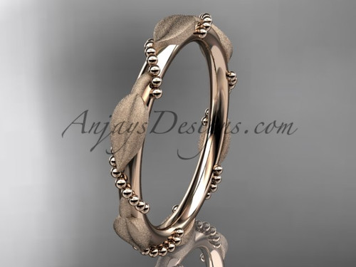 Rose Gold Wedding Bands for Women Leaf Ring ADLR178B