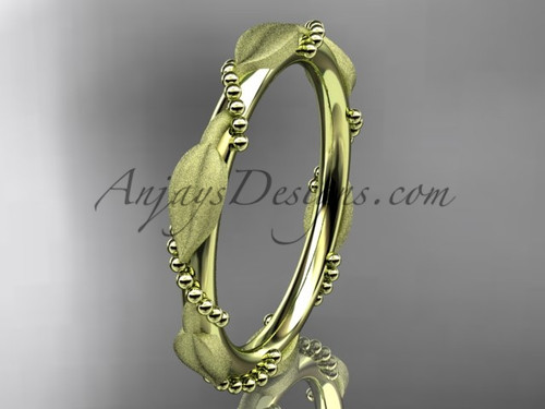 Yellow Gold Wedding Bands for Women Leaf Ring ADLR178B