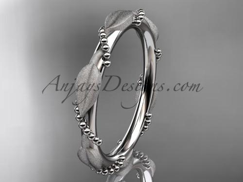 Platinum Wedding Bands for Women Leaf Ring ADLR178B