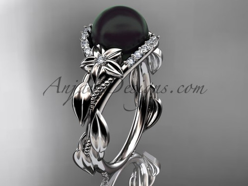 Black Pearl and Diamond Bridal Rings ABP326