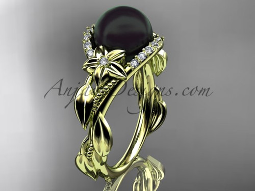 Black Pearl and Diamond Flower Engagement Rings ABP326