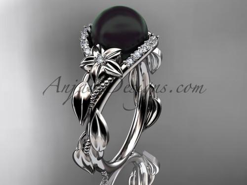 Black Pearl and Diamond Platinum Engagement Rings ABP326