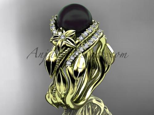 Black Pearl Yellow Bridal Ring Sets ABP326S