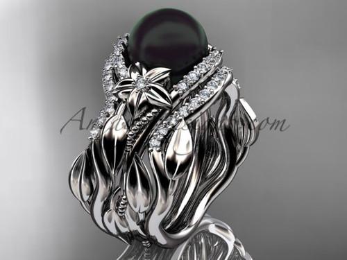 Double Band Black Pearl & Diamond Wedding Ring ABP326S
