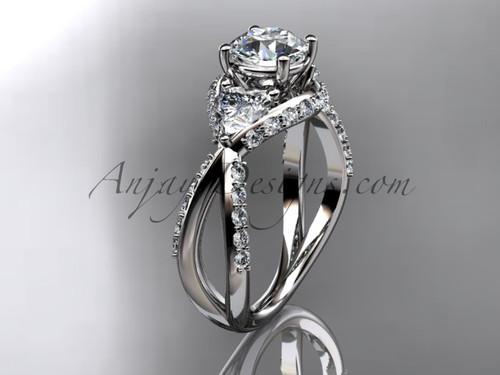 Unique platinum diamond wedding ring, engagement ring ADLR318