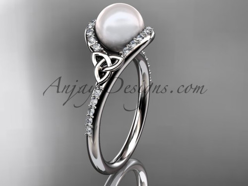 Irish Celtic Engagement Rings White Gold Pearl Wedding Ring CTP7317