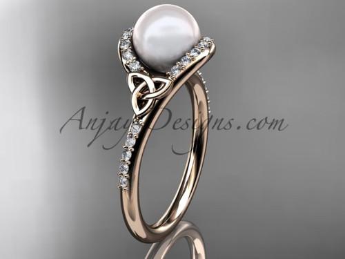 Irish Celtic Engagement Rings Rose Gold Pearl Wedding Ring CTP7317