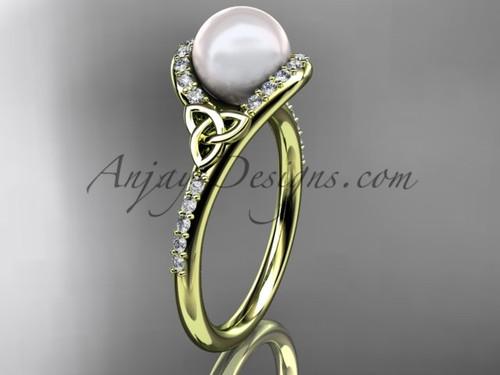 Irish Celtic Engagement Rings Yellow Gold Pearl Wedding Ring CTP7317
